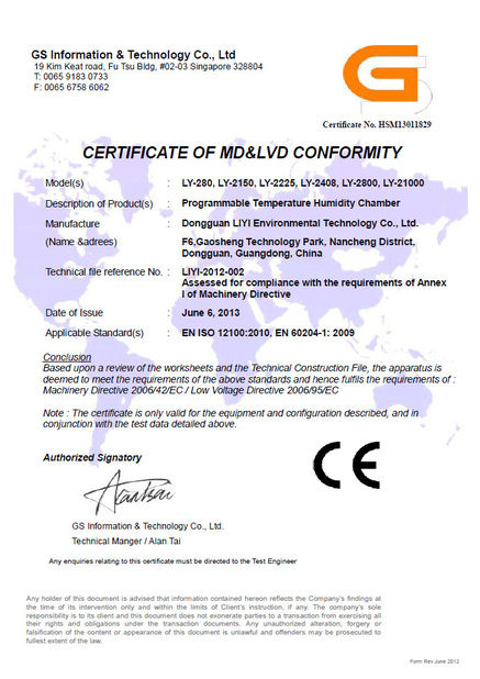China Dongguan Liyi Environmental Technology Co., Ltd. Certification